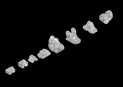 Isometric view pieces
