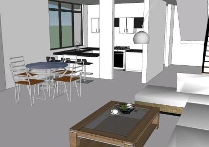 Kitchen - dining room - living room
