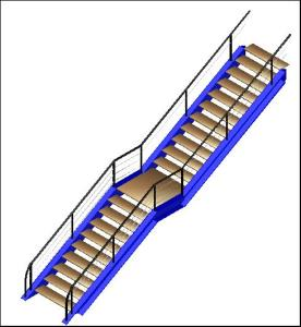 Straight staircase in 3D