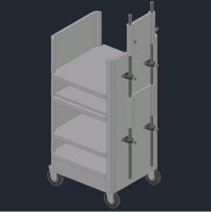 Medical auxiliary trolley in 3d