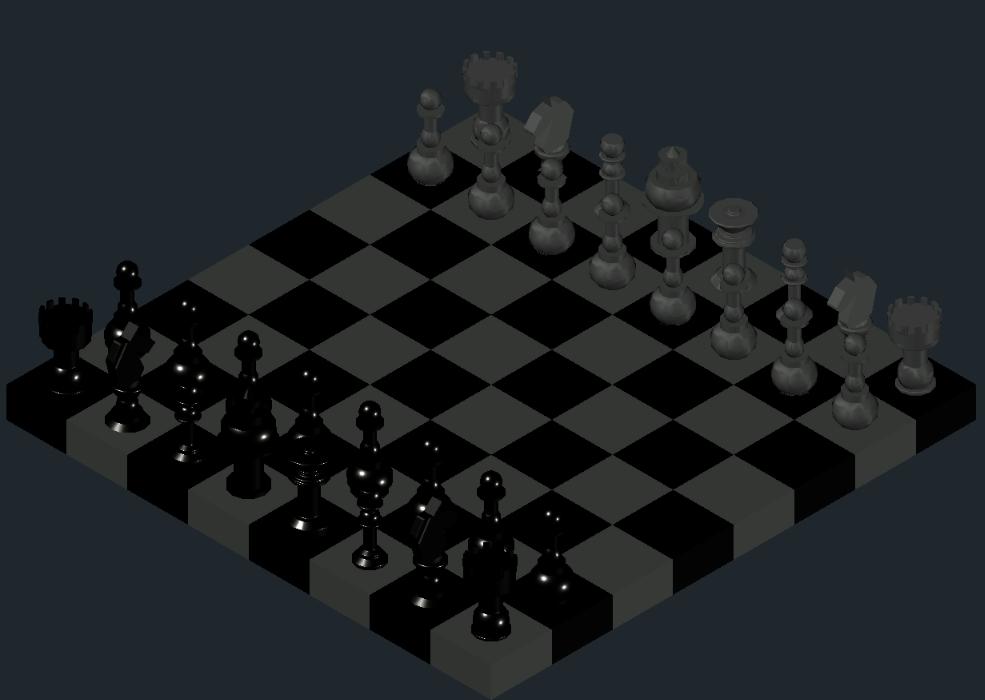 Tablero y piezas de ajedrez 3D