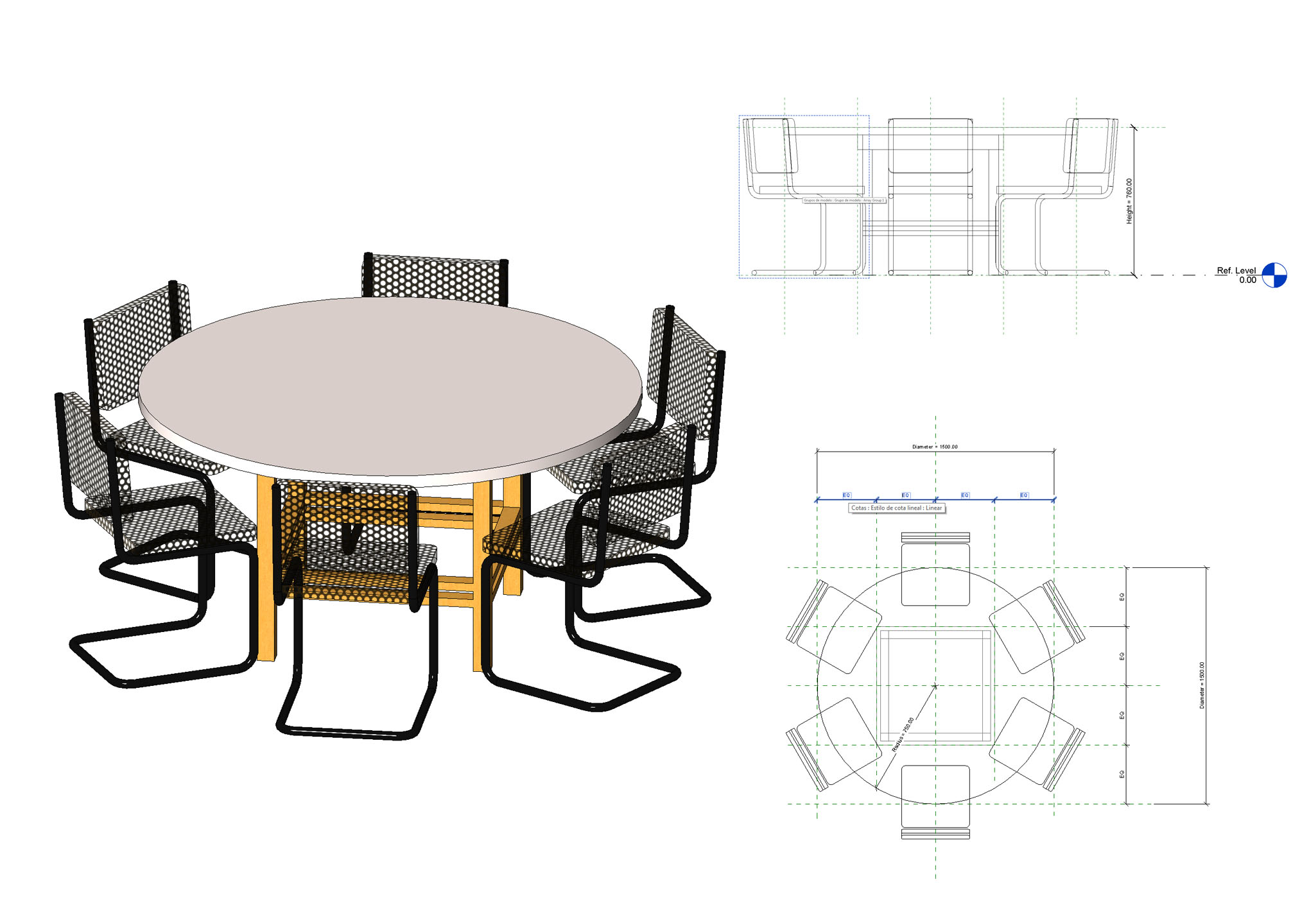 Round Table With Chairs In Rfa Cad Download 117542