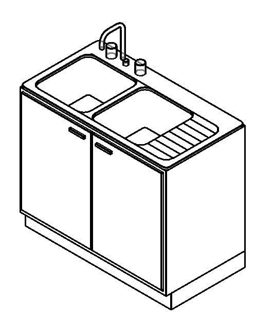 Bajo mesada con pileta de cocina en rfa cad 117614 for Mueble de cocina con pileta