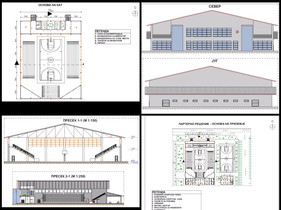 Multipurpose Sports Hall In Pdf Cad Download 118315