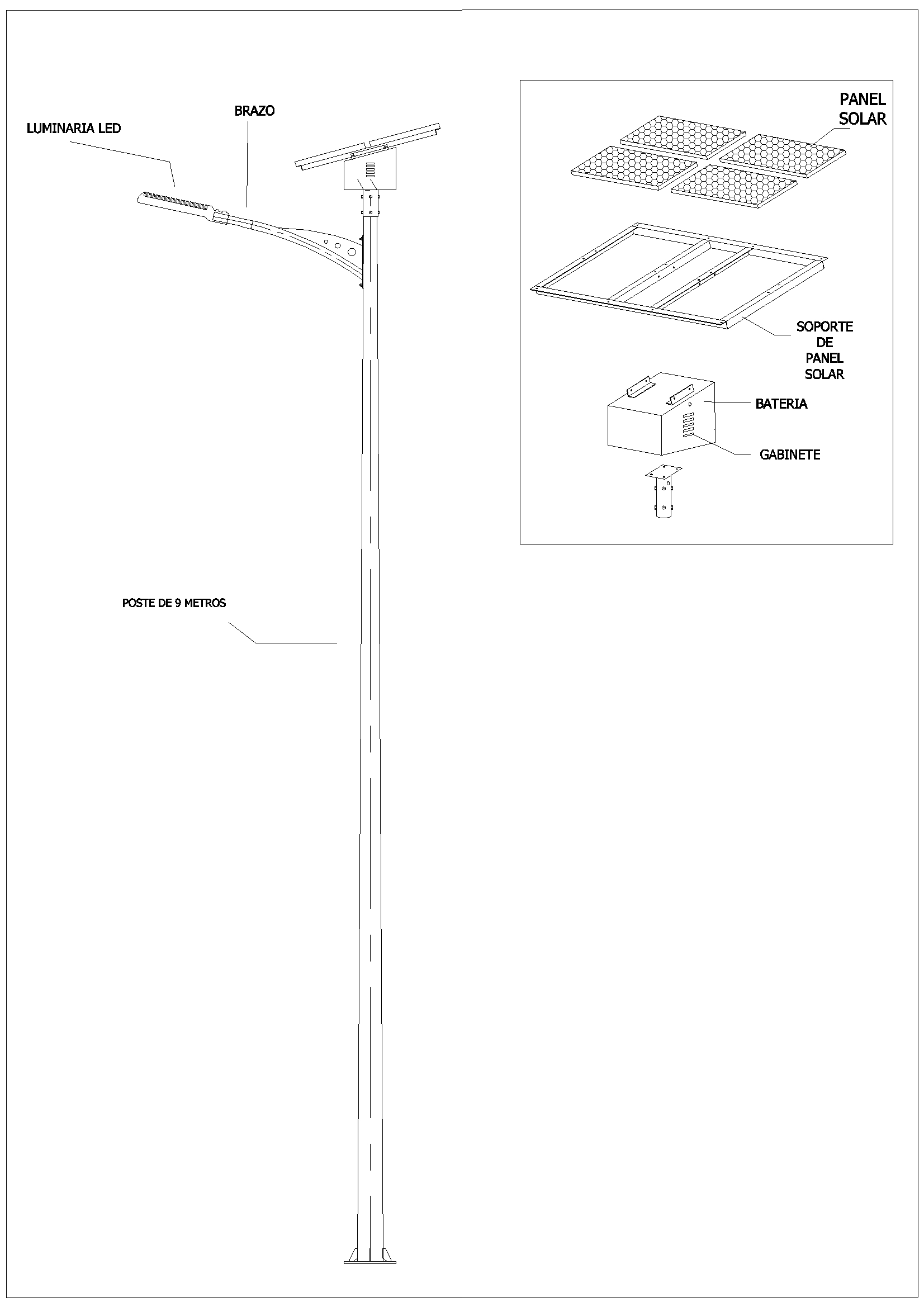 Detail Of Solar Lighting In Autocad Cad Download