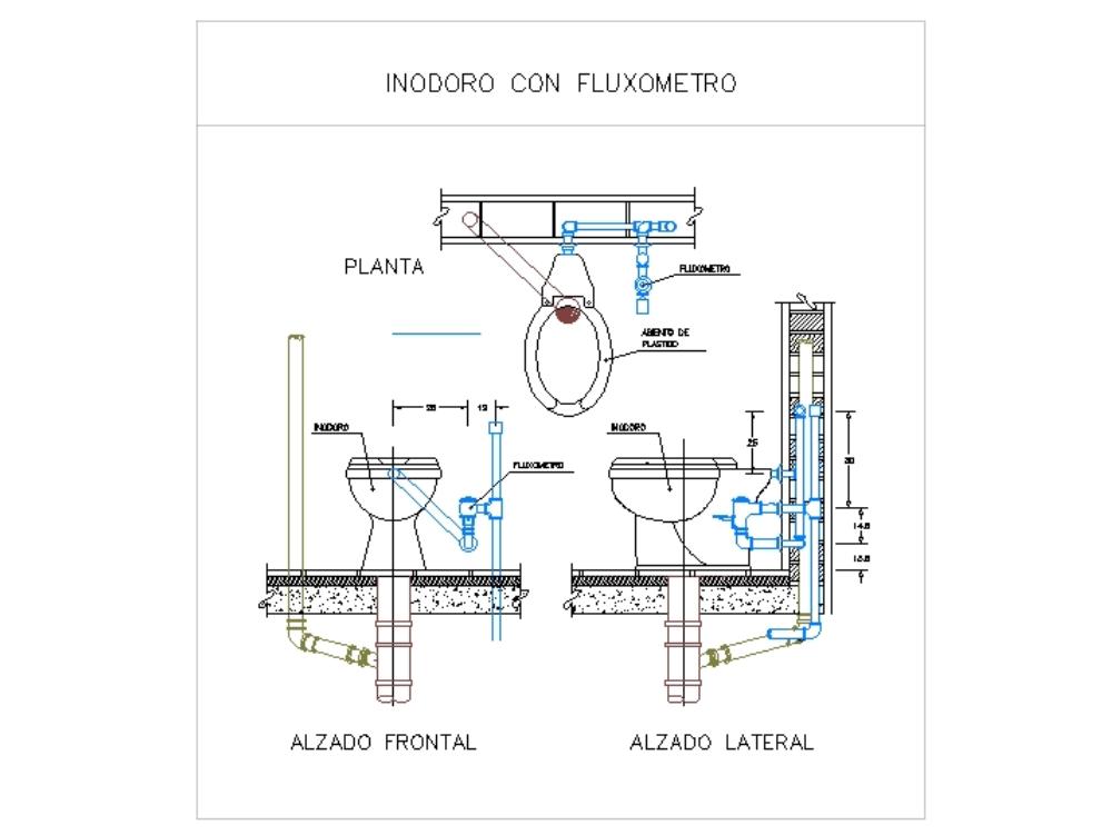 Inodoro con fluxometro - autocad
