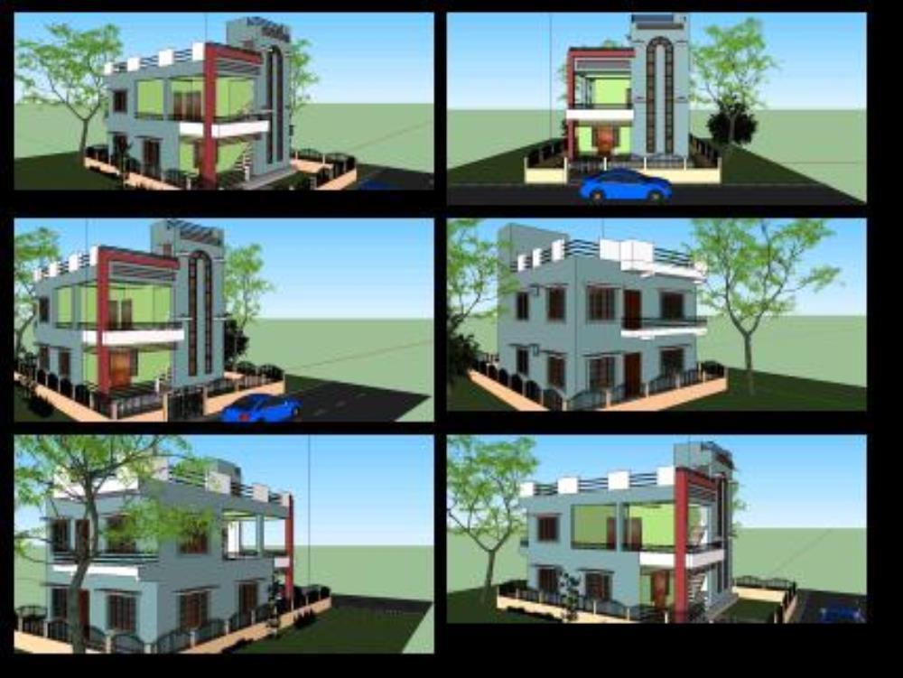 Edificio residencial en nepal - sketchup