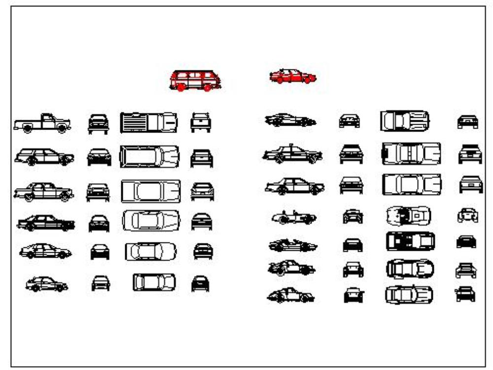 Blocks of cars with their 4 views - autocad