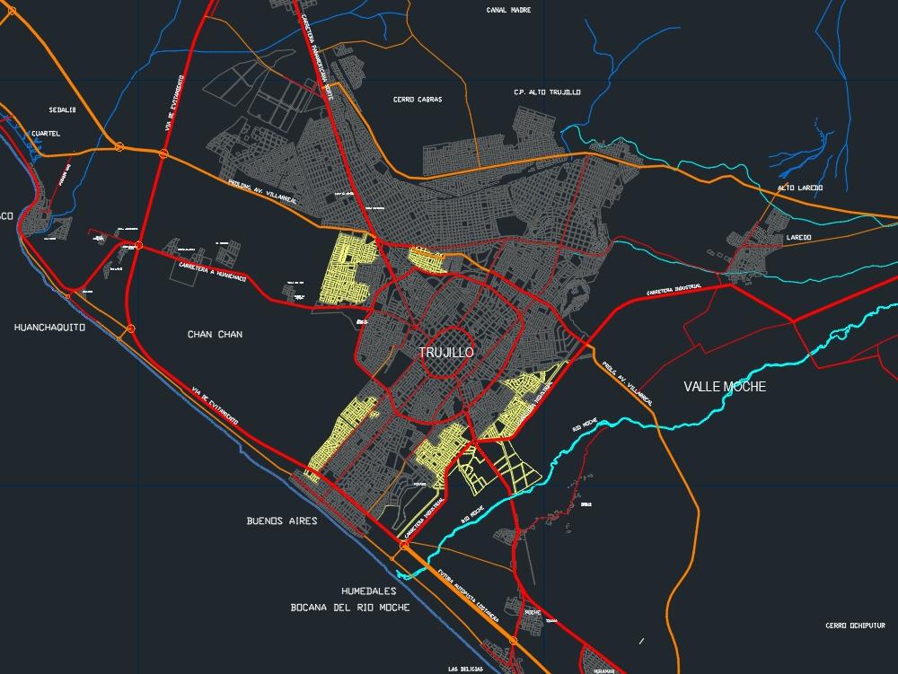 Plano catastral de Trujillo - autocad
