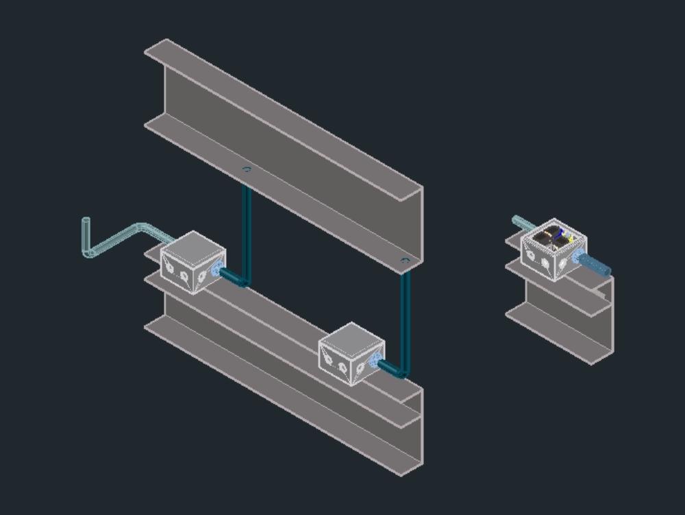 Detalle caja cctv. Camara monitoreo. Seguridad tecnologica. Autocad