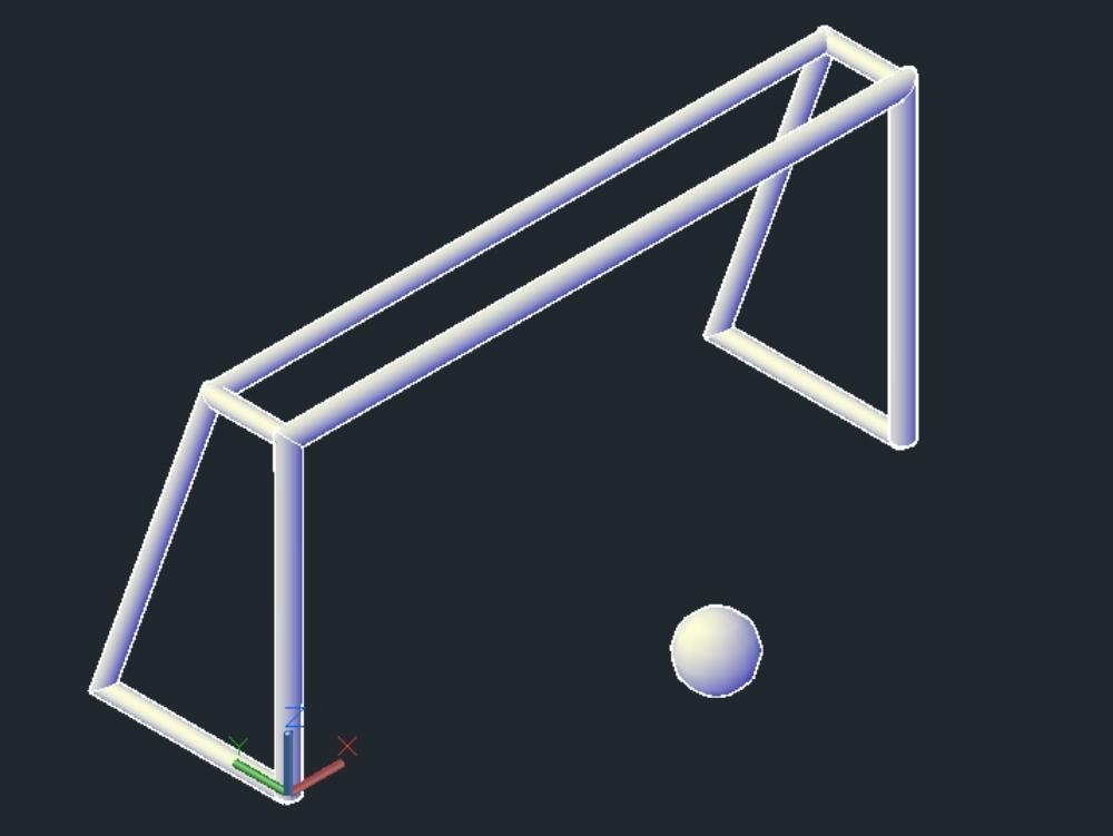 Arco de futbol con balon - autocad