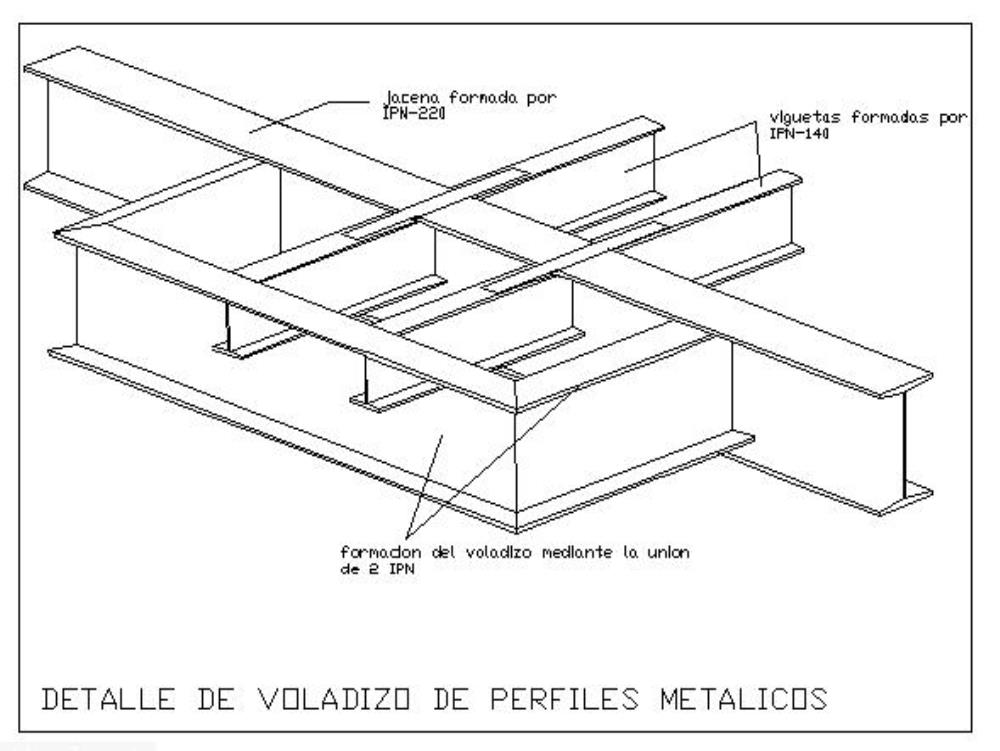 detail of a cantilever with metal profiles
