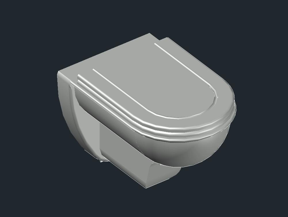 Inodoro basico 3d dise ado en autocad kb bibliocad for Inodoro dwg