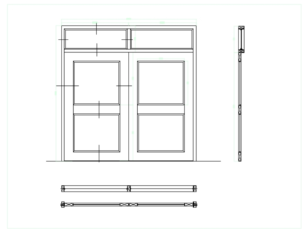 Door and metal latticework - autocad