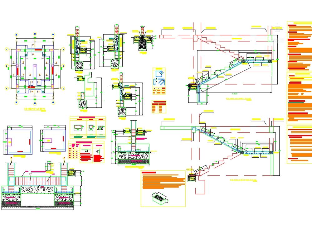 Desarrollo estructural de escalera de un centro educativo - autocad