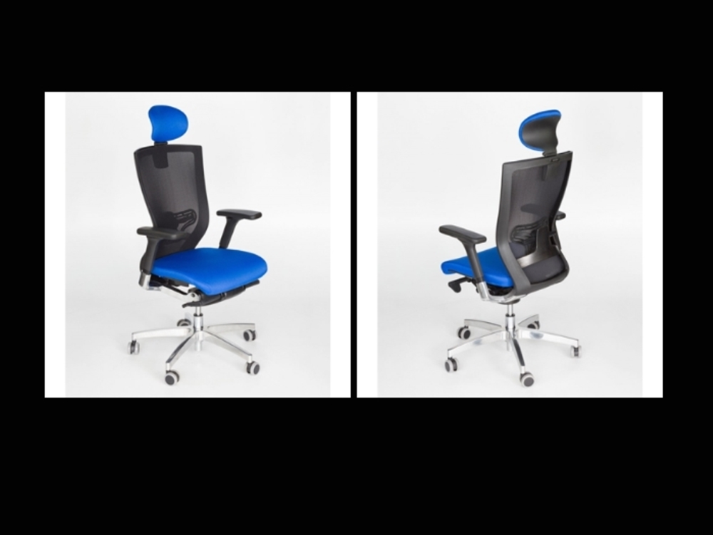 Objeto-familia silla gamer color azul revit