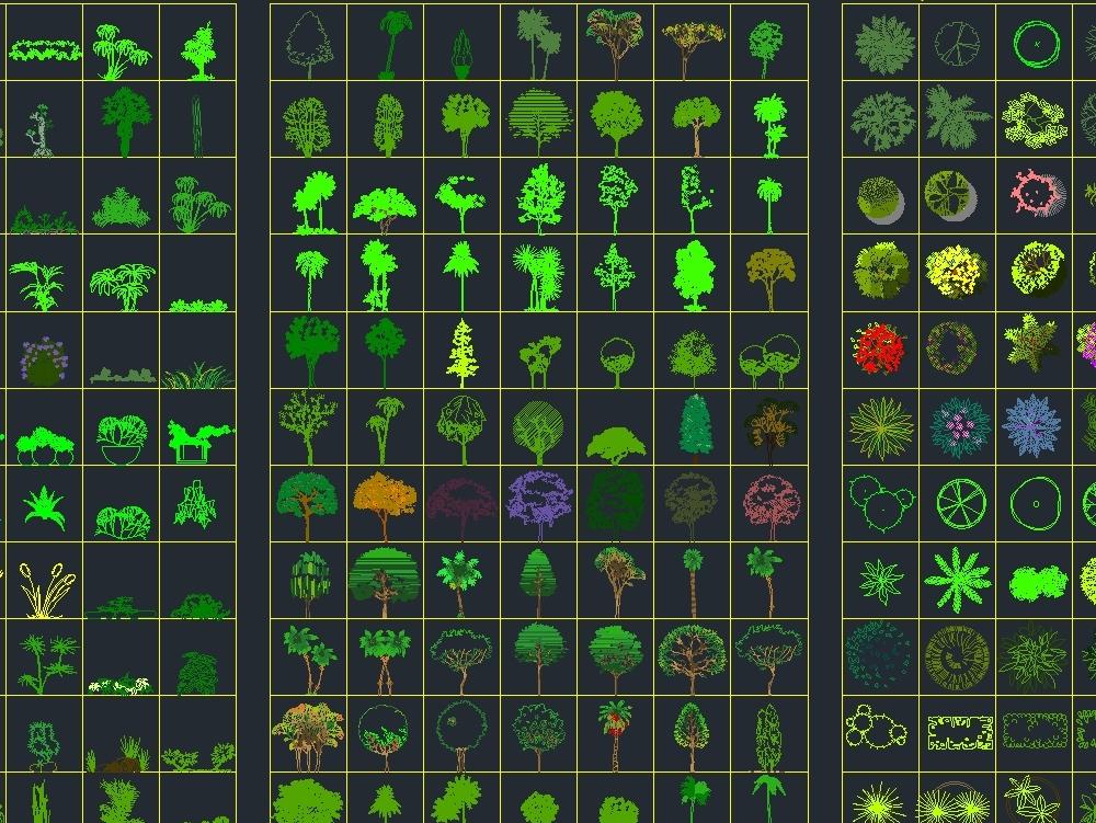 Bloques de vegetación - autocad