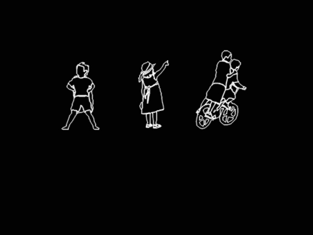 Three types of children silhouette