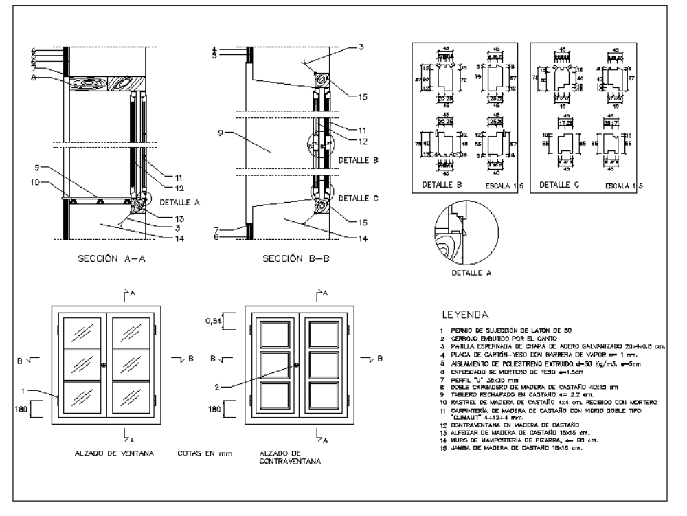 Wooden window - autocad