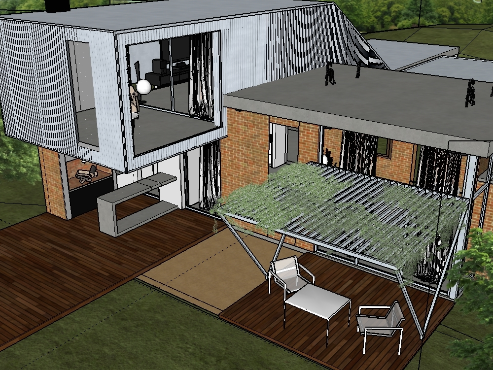 Casa moderna en sketchup en skp descargar cad mb for Casa moderna sketchup download