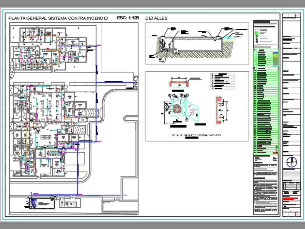 Sistema de instalación contra indencios - autocad