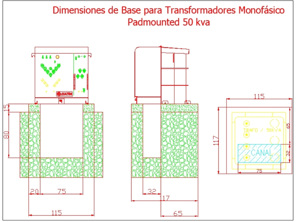 Bases para transformadores - autocad