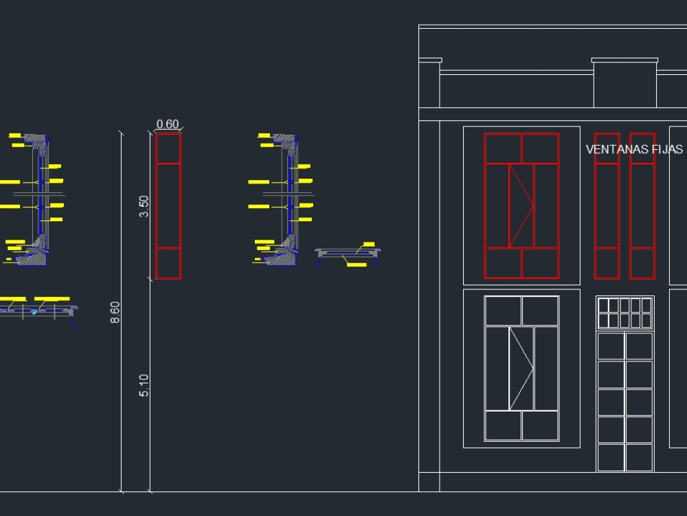 Window with wooden carpentry - autocad