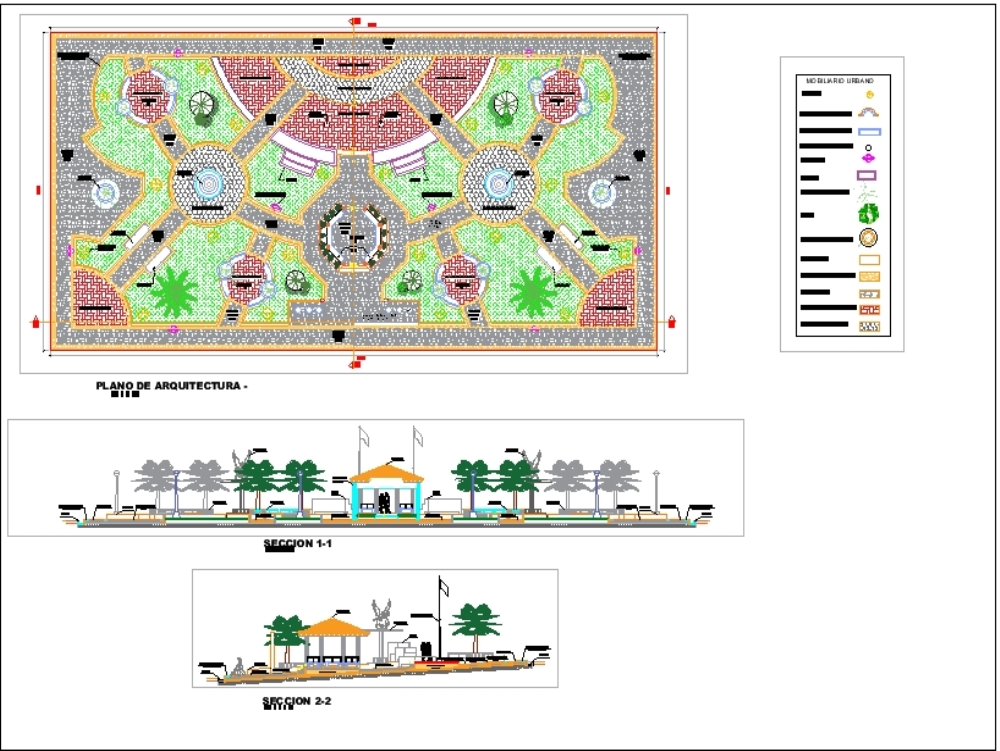 Park with pool recirculation system - autocad