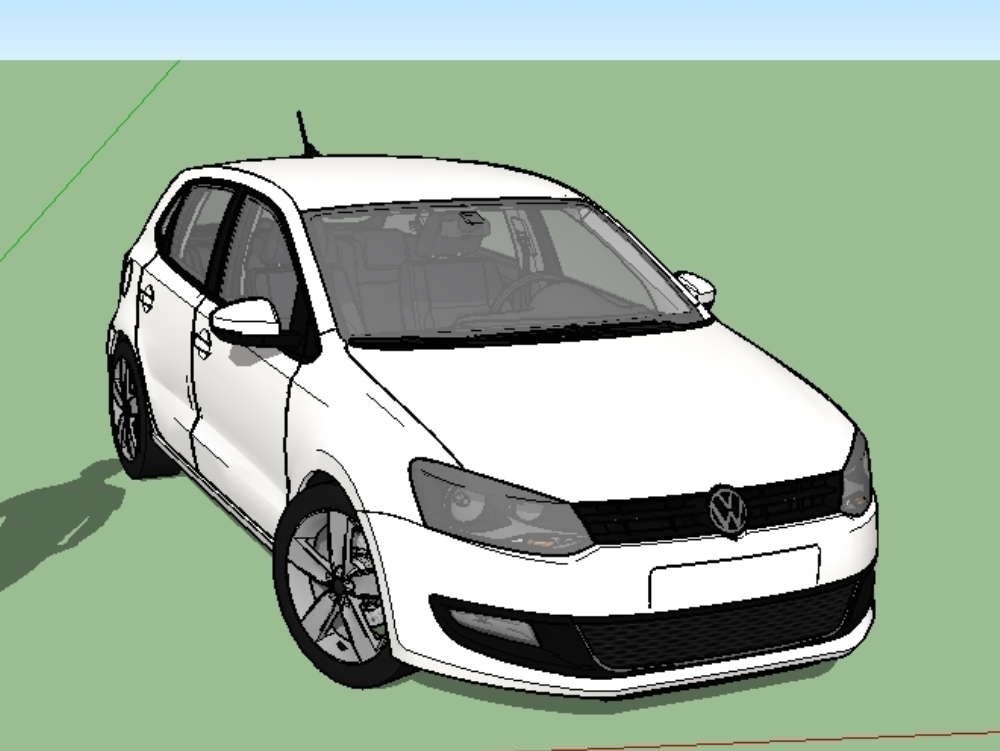 Auto volkswagen detailed 3d pole.