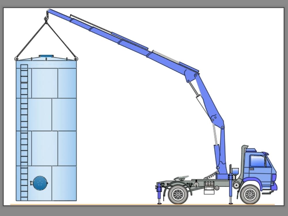 Truck - tall silos