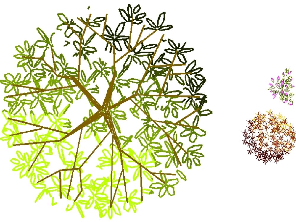 Árboles a color en degradado