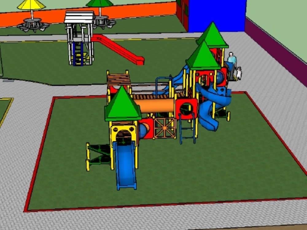 Laying out of children park in 3 dimension