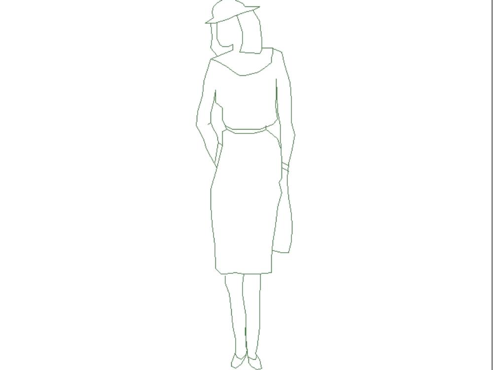 Mujer con falda y blusa; en blanco y negro.