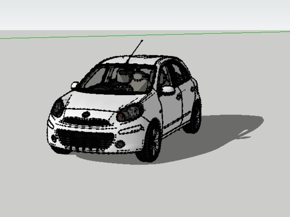 Automovil nissan march/micra - modelo 3d
