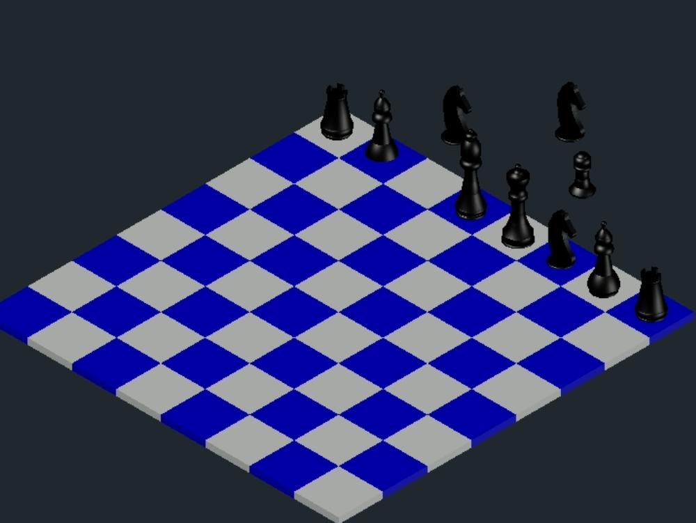 Tablero de ajedrez en 3d con sus repesctivas piezas