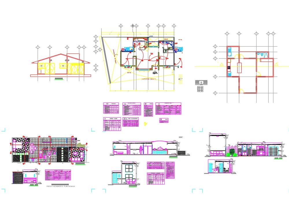 Plano de acabados de una casa habitaci n kb for Planos de casas de una habitacion