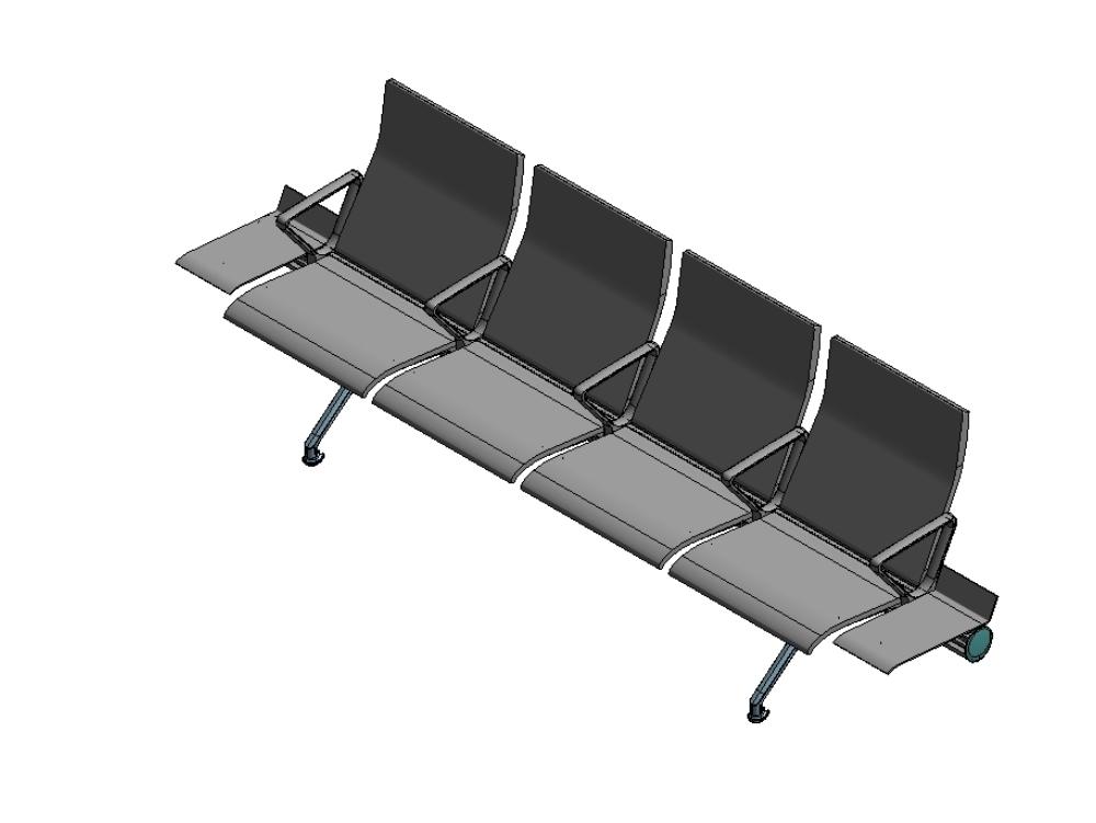 Silla de espera mobiliario en revit 3d