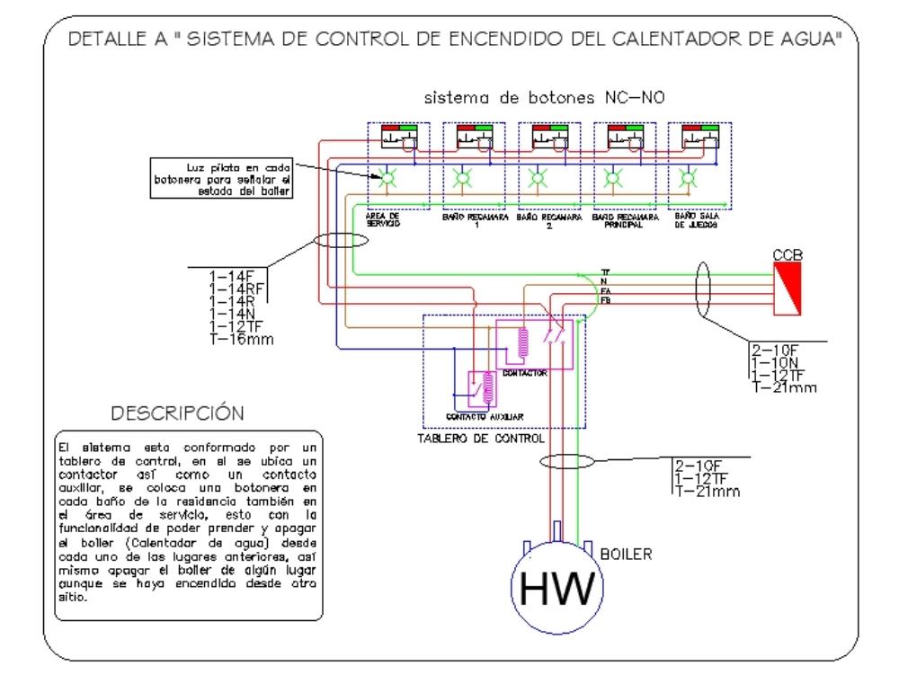 Sistema de control de boiler con 5 interruptores