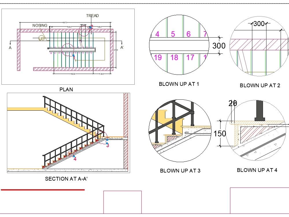 Doglegged Stair Case With The Details Of Rise And Tread