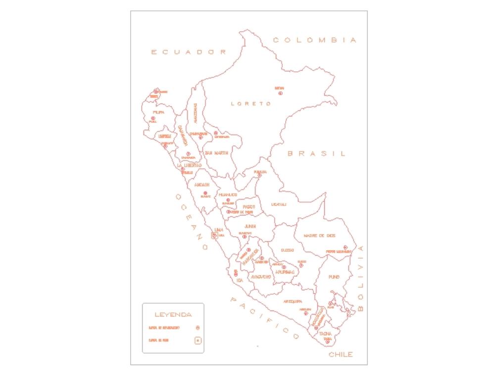 Mapa del peru en autocad 2d