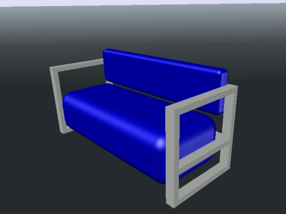 Mueble sofá de estructura metálica