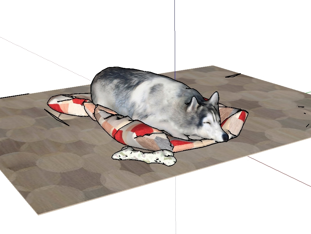 Dog in 3d format for sketchup