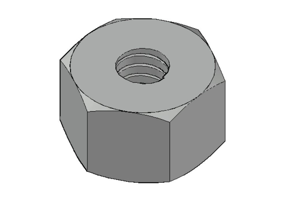 Threaded hexagonal nut design