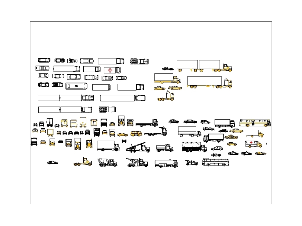 Blocks of cars; trucks and others