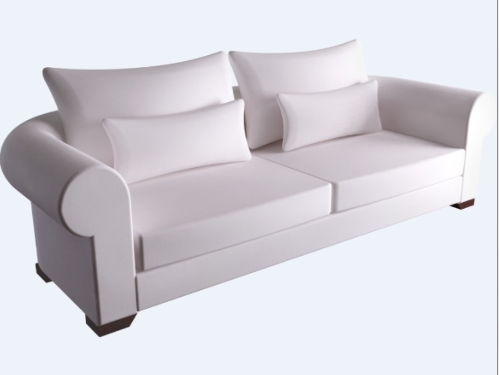 Sofa white color - object for revit in RFA | CAD (895 3 KB