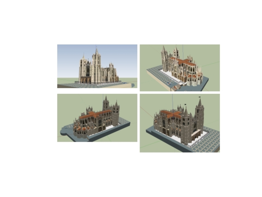 3d model of leon cathedral in spain
