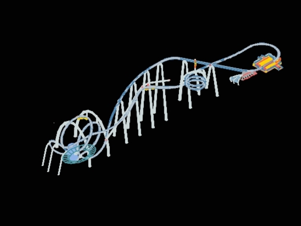 Roller coaster model in structure