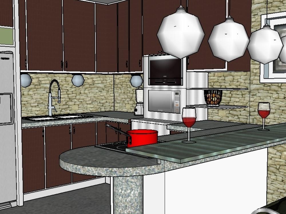 Propuesta de diseño de cocina moderna (11.29 MB) | Bibliocad