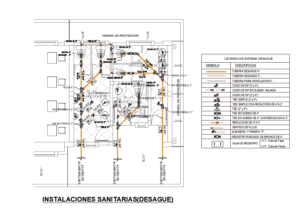 Plan Of Sanitary Installations In Autocad Cad 224 39 Kb