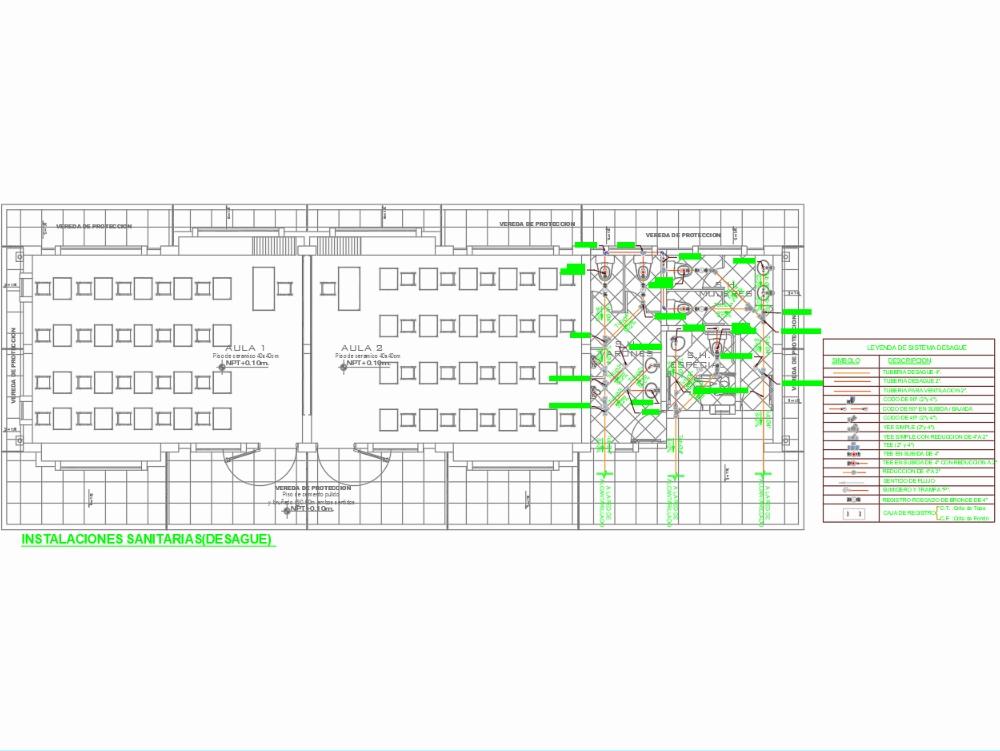 Plan of sanitary installations in AutoCAD | CAD (224 39 KB) | Bibliocad